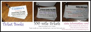 Using 100 mile tickets in card rides is a fun way for kids to learn about states as well as give an incentive for good behavior.