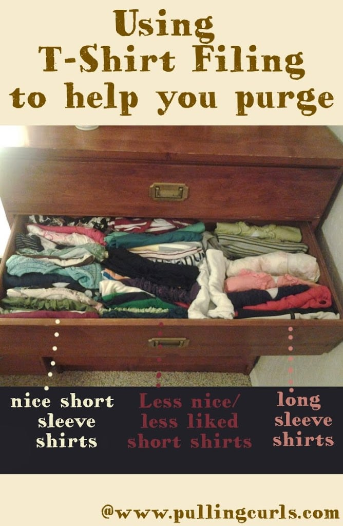 Use t-shirt filing to help guilde your seasonal wardrobe purges.  T-shirt filing makes it impossible to shove clothes at the back of the drawer. I {heart} t-shirt filing.